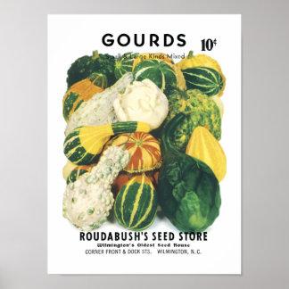 Paquete de la semilla del vintage de las calabazas póster