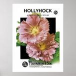Paquete de la semilla del vintage del Hollyhock Poster