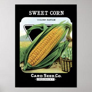 Paquete de la semilla del vintage del maíz dulce póster