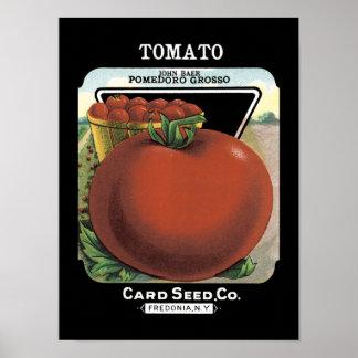 Paquete de la semilla del vintage del tomate posters
