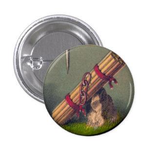 Paquete de palillos y de tres vínculos botón de 1 pin redondo de 1 pulgada