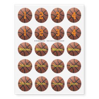 Paquete del fiesta del jugador del baloncesto 4 tatuajes temporales