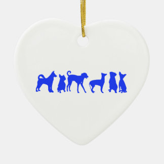 Paquete del perro adorno navideño de cerámica en forma de corazón