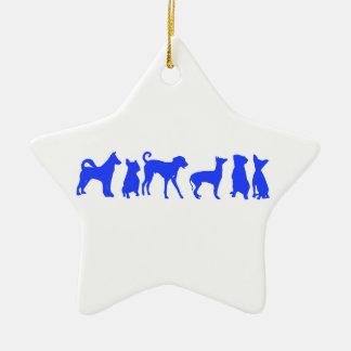 Paquete del perro adorno navideño de cerámica en forma de estrella