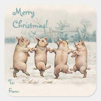 """Paquete divertido lindo """"de las Felices Navidad"""" Pegatina Cuadrada"""