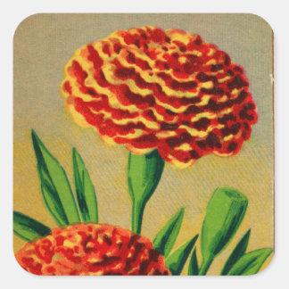 Paquete francés de la semilla de flor del clavel pegatina cuadrada