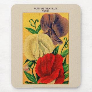 Paquete francés de la semilla de flor del guisante mousepad