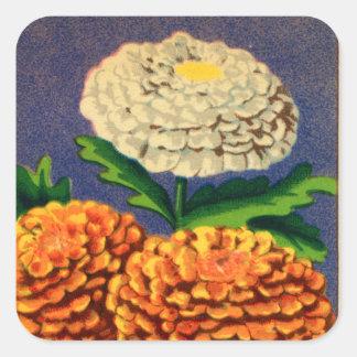 Paquete francés de la semilla de flor del pegatina cuadrada