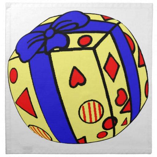 Paquete o regalo, envuelto, cinta, esfera servilleta de papel