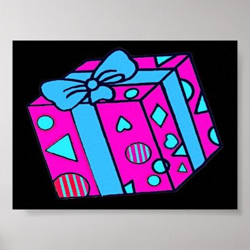 Paquete o regalo, rosa, parte posterior del negro  poster