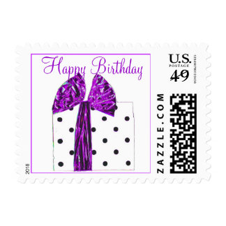 Paquete púrpura bonito del feliz cumpleaños sellos