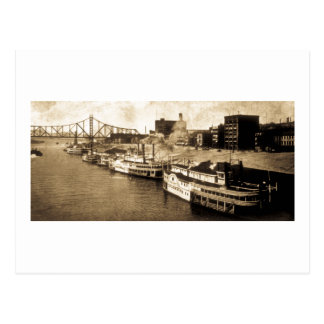 Paquete que aterriza la postal del vintage del río