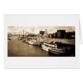 Paquete que aterriza la postal del vintage del río tarjeta de felicitación
