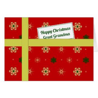 Paquete rojo del navidad de la gran abuela tarjeta de felicitación