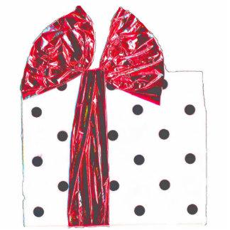 Paquete rojo del regalo de vacaciones de la cinta fotoescultura vertical