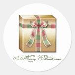 Paquete rosado del oro verde del navidad con las c pegatina