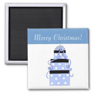 Paquetes bonitos con los lunares azules y blancos imán cuadrado