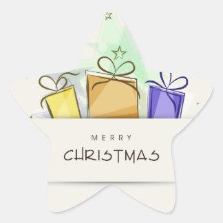 Paquetes de las Felices Navidad Colcomanias Forma De Estrella Personalizadas