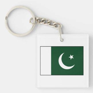 Paquistán - bandera paquistaní llavero cuadrado acrílico a doble cara