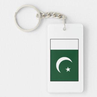 Paquistán - bandera paquistaní llavero rectangular acrílico a doble cara