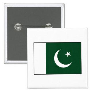 Paquistán - bandera paquistaní pin cuadrado