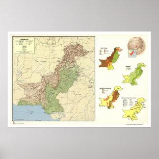 Paquistán detalló el mapa - 1973 posters