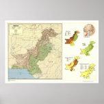 Paquistán detalló el mapa - 1973 póster