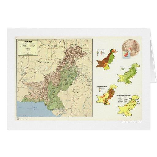 Paquistán detalló el mapa - 1973 tarjeta de felicitación