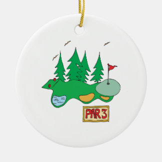 Par 3 Double-Sided ceramic round christmas ornament
