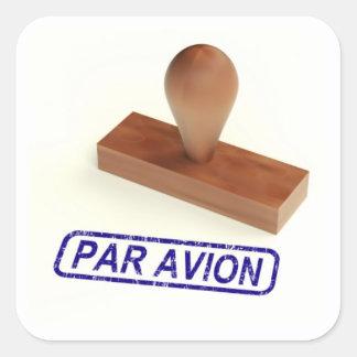 Par Avion Air Mail Square Sticker