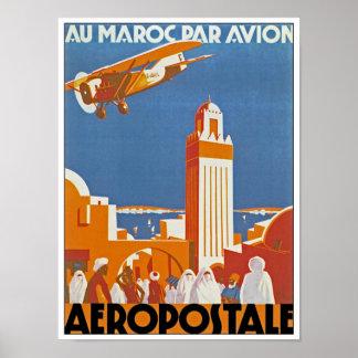 Par Avion de Maroc del Au Póster