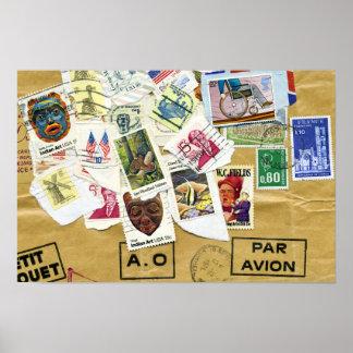 Par Avion del collage del sello Póster