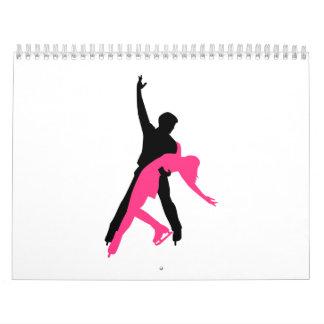 Par del patinaje artístico calendario de pared