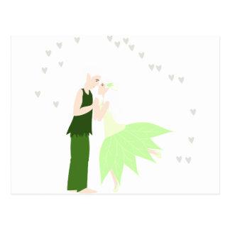 par elfos rodeado de corazones postal