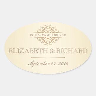 Para ahora y para siempre etiquetas del boda del pegatina ovalada