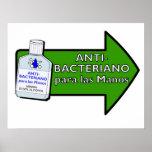 Para Antis-Bacteriano Las Manos Póster
