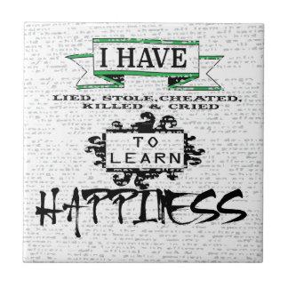 Para aprender felicidad azulejo cuadrado pequeño