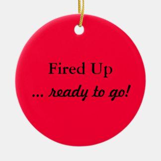 Para arriba encendida listo para ir ornamento rojo adorno navideño redondo de cerámica