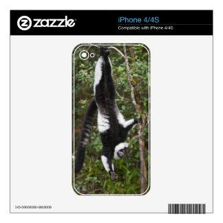 Para arriba-lado-abajo colgante negro y blanco sup calcomanías para iPhone 4S
