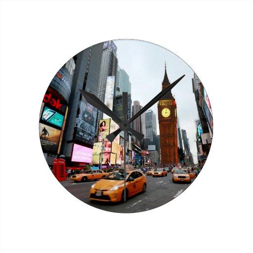 ¡Para arriba mezclado mundo! - New York City y Lon Reloj Redondo Mediano