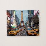Para arriba mezclado mundo - New York City y París Rompecabezas