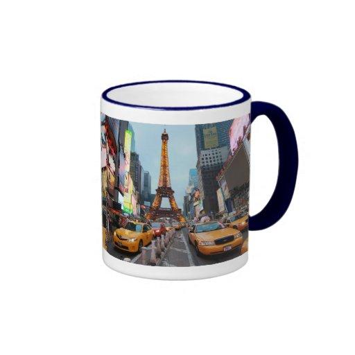 Para arriba mezclado mundo - New York City y París Tazas