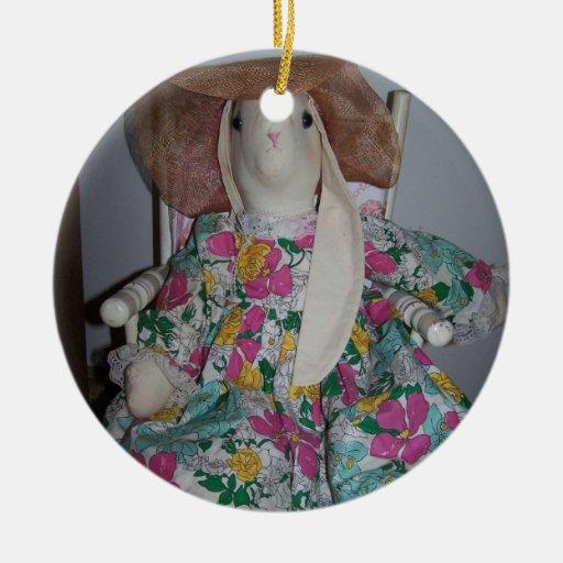 Para arriba vestido conejito, Pascua Adorno Navideño Redondo De Cerámica