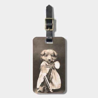 Para arriba vestido perrito con el violín etiqueta para maleta