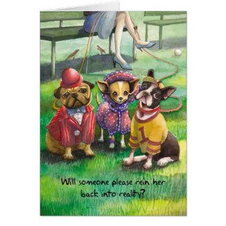 Para arriba vestido perro - cumpleaños divertido tarjeta de felicitación