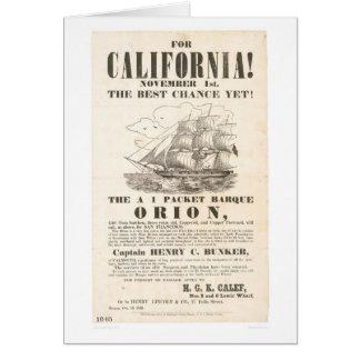 """¡Para California! … anuncio de """"Orión"""" (1281A) Tarjeta De Felicitación"""