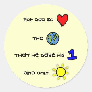 Para dios tan amado los pegatinas del mundo pegatina redonda