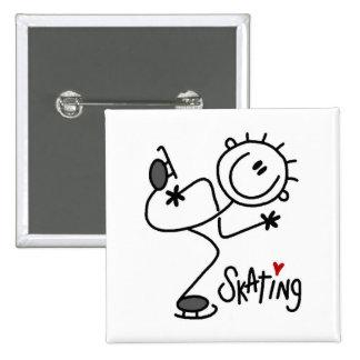Para el amor de camisetas y de regalos patinadores pin cuadrada 5 cm