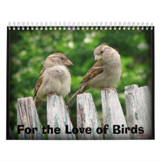 Para el amor del calendario 2015 de los pájaros