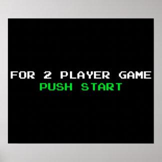 Para el comienzo del empuje del juego de 2 jugador póster